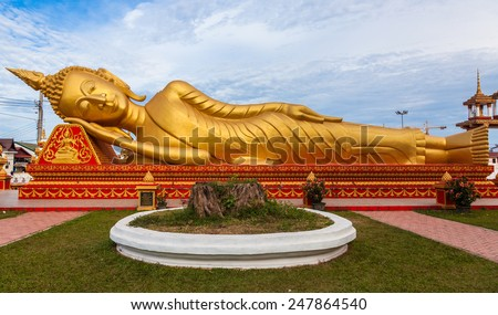 Gold reclining Buddha in Wat Si Saket in Vientiane, Laos - stock photo