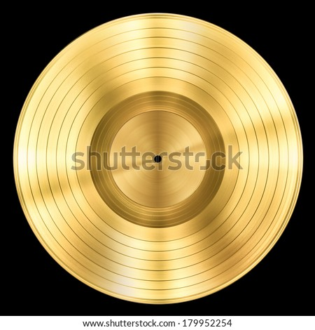 gold record music disc award isolated on black - stock photo