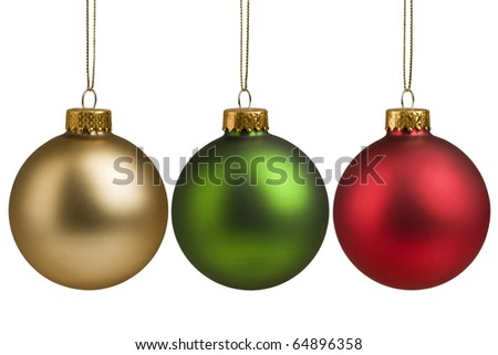 Gold, red and green Christmas baubles isolated on white background for holiday decoration.