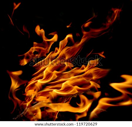 Gold, red and yellow flame, fire on a black background
