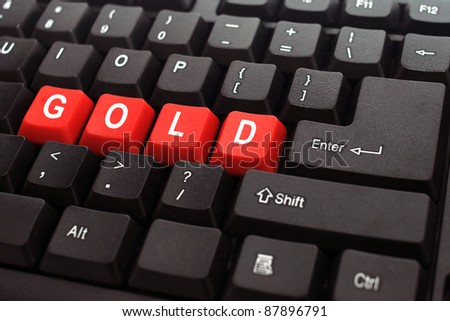 gold red button word on black keyboard