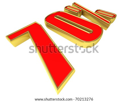 Gold-red 70 percent isolated on white background. - stock photo