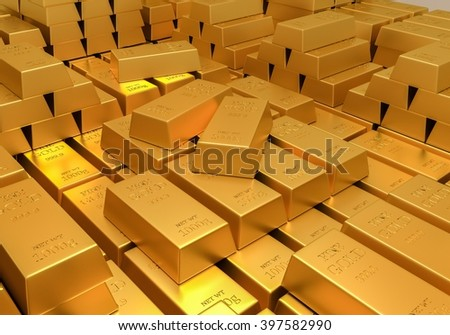 Gold reserves. Banking concept. Many shiny gold bars. 3D rendered iIlustration. - stock photo