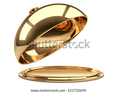 Gold restaurant cloche with open lid. 3d illustration - stock photo