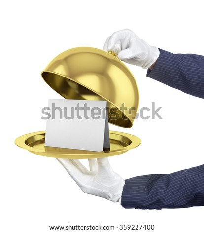 Gold restaurant cloche with open lid. 3d illustration. - stock photo