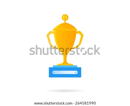 Gold reward icon. Flat illustration isolated on white - stock photo