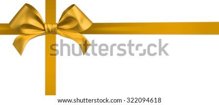gold ribbon bow on white background