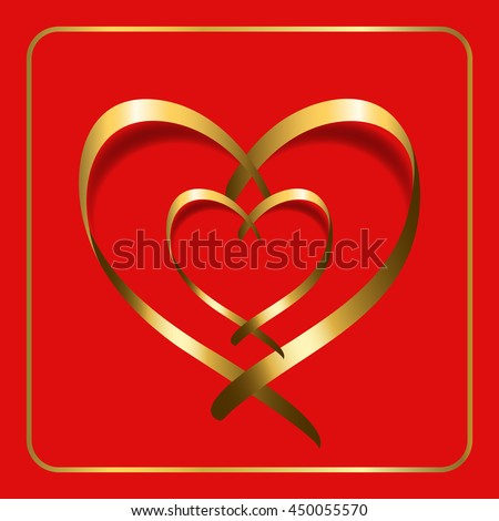 Gold ribbon double heart. Golden silhouette, isolated on red background. Symbol happy love, romantic, wedding. Valentine Day design 4 template banner, invitation, card, poster etc. Illustration - stock photo