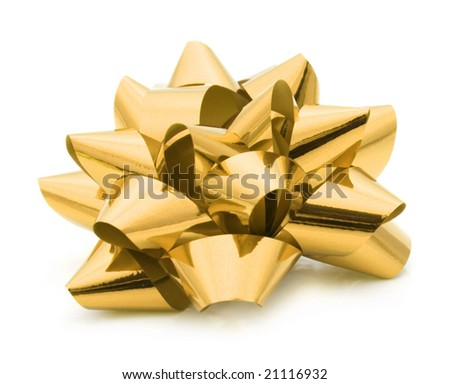 gold ribbon on a white background
