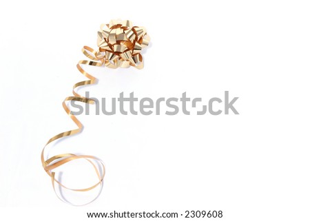 Gold ribbon on white background - stock photo