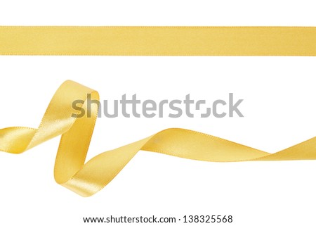 Gold ribbon set on white, clipping path included - stock photo