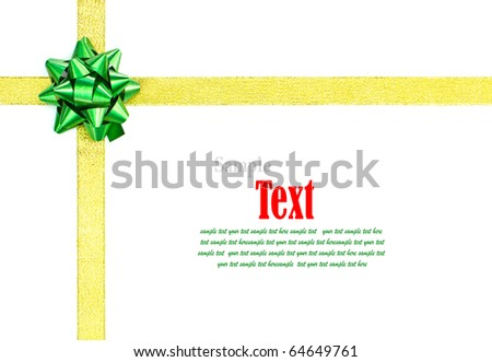 Gold ribbon with green bow on white background with copy space. - stock photo