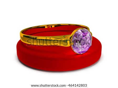 Gold ring with a precious stone on a stand made of velvet. 3d image. White background.