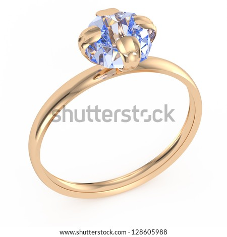 gold ring with diamond isolated on white. 3d rendered image