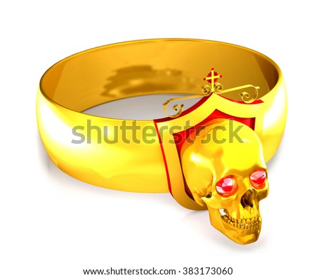 Gold ring with diamonds and a skull and cross on white background. - stock photo