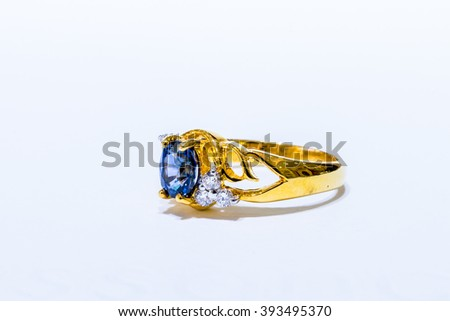 Gold ring with pebble and diamonds