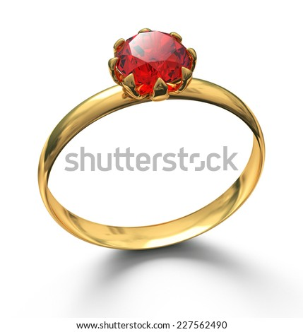 Gold ring with ruby gemstone isolated on white - stock photo