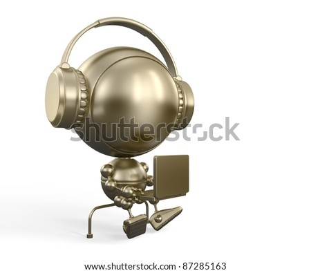 Gold robotic model of modern teenager with notebook - stock photo