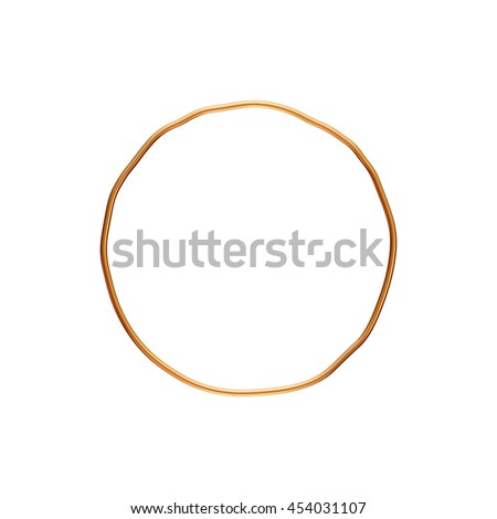 Gold round rendered in 3d on white background.