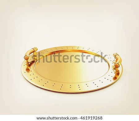 Gold salver on a white background. 3D illustration. Vintage style.
