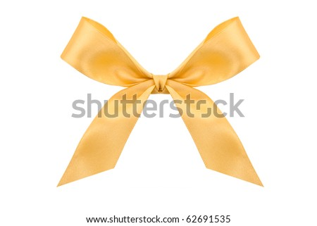 Gold satin bow  on white