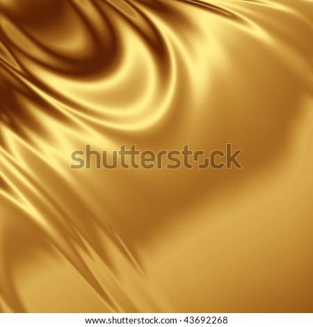 Gold satin fabric - stock photo
