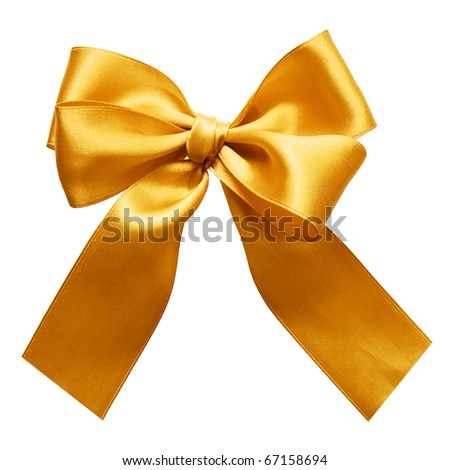 Gold satin gift bow. Ribbon. Isolated on white - stock photo