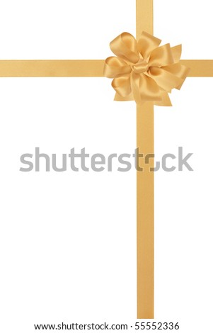 Gold satin ribbon with bow isolated over white background. - stock photo