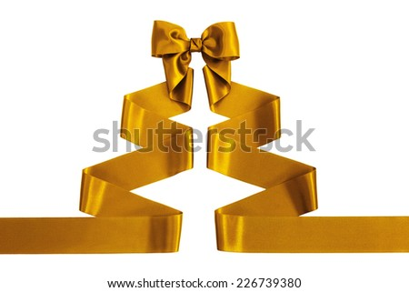 Gold satin ribbon with bow shaped as a Christmas tree, isolated on white background - stock photo