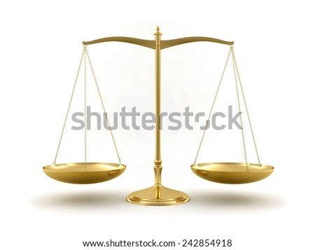 Gold scale isolated on white background. Law and justice concept. - stock photo