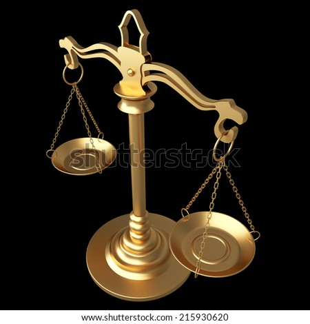 Gold scales of justice. isolated on black background. 3d illustration - stock photo