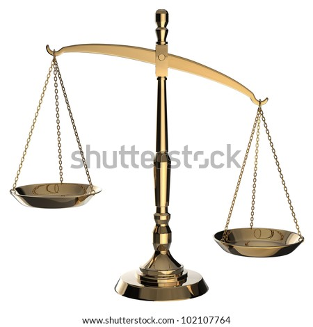 Gold scales of justice isolated on white background with clipping path. - stock photo