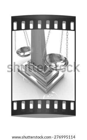 Gold scales on a white background. The film strip - stock photo