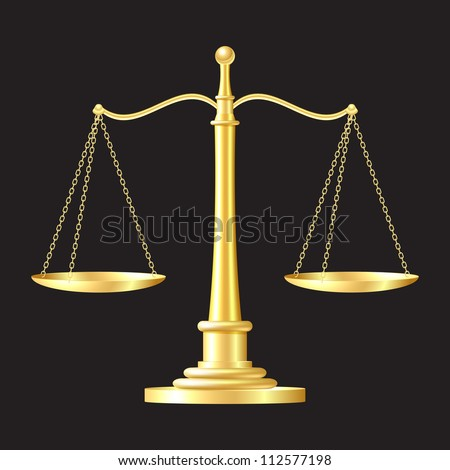 gold scales on black background. - stock photo