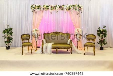 Gold Seated Wedding Stage Backdrop Stock Photo (Royalty Free ...