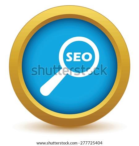 Gold seo search icon on a white background - stock photo