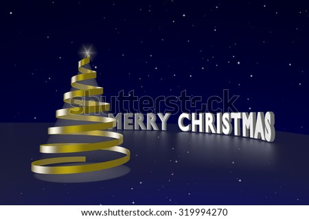 Gold serpentine shaped Christmas tree and Merry Christmas text on the starry sky background. - stock photo