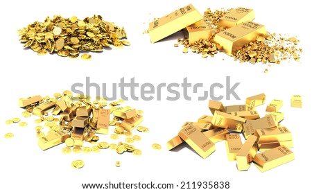 Gold set. Golden Bars, Coins and Golden Pieces isolated on white background - stock photo