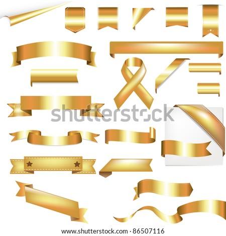 Gold Set, Isolated On White Background - stock photo