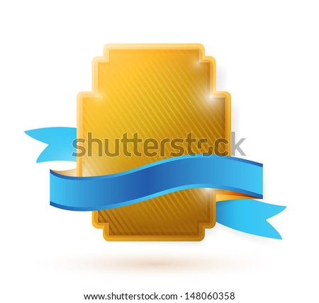 gold shield and blue ribbon illustration design over a white background - stock photo
