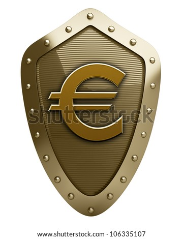 Gold shield with Euro symbol  isolated on white background High resolution 3D