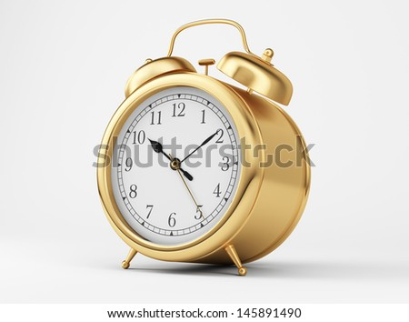 Gold Shiny Clock   - stock photo