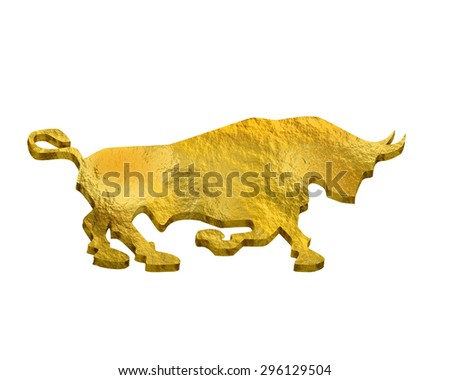 gold silhouette bull and bear financial icons depicting the market trends of stocks and shares on the bourse  isolated on white - stock photo