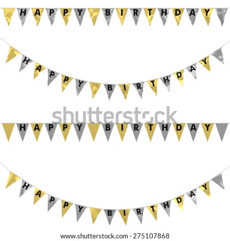 Gold, Silver and Black HAPPY BIRTHDAY Bunting Collection: 3D reflection and flat orthographic textures - stock photo