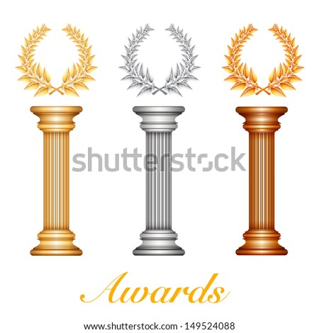 Gold silver and bronze award column with laurel wreath for jubilee text or competition winner over sun rays background. Raster illustration. Vector file included in portfolio - stock photo
