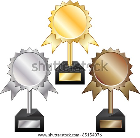 Gold, silver and bronze awards - stock photo