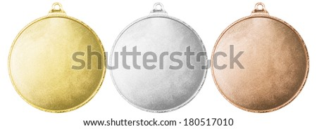 Gold, silver and bronze blank medals set isolated with clipping path - stock photo
