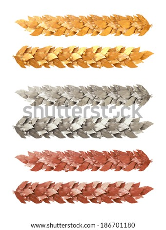 Gold, silver and bronze decorative strip of Laurel branches - stock photo