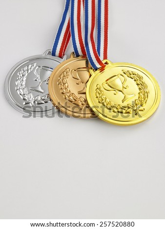 gold,silver and bronze medal - stock photo