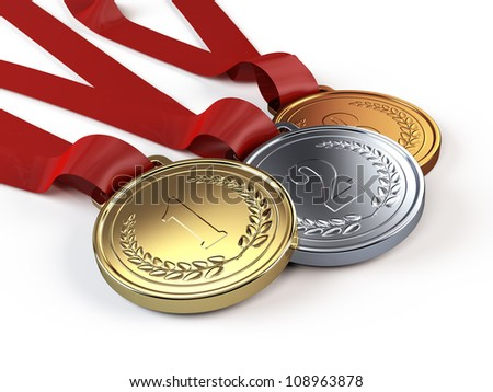 Gold, Silver and bronze medals - stock photo